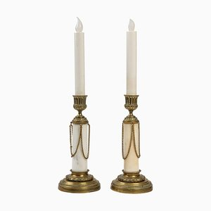 Bronze and Marble Candleholders, Set of 2