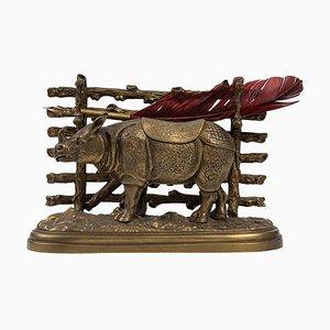 Bronze Tintenfass mit Nashorn
