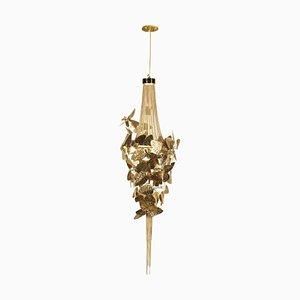 Lampe à suspension avec laiton plaqué or et cristaux Swarovski ambrés