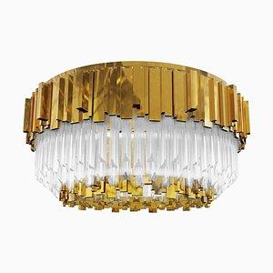 Plafonnier en laiton plaqué or et verre cristal