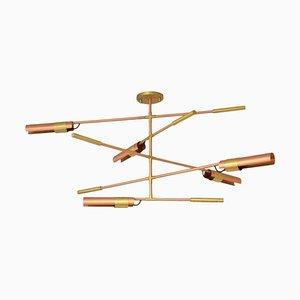 Lámpara de araña de cobre cepillado y latón