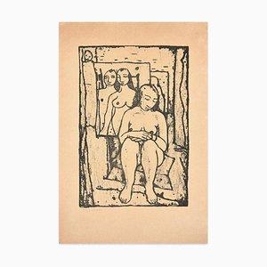 Felice Casorati - Modell im Atelier - Original Lithographie von Felice Casorati - 1946