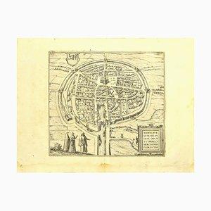 Acquaforte Franz Hogenberg - Vista di Middelburg - Fine del 1500