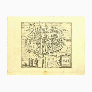 Franz Hogenberg - Vue de Middelburg - Gravure originale - Fin 1500