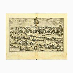 Acquaforte George Braun - Mappa di Grodno - Incisione originale - Fine XVI secolo