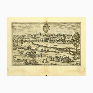 George Braun - Map of Grodno - Original Etching - Late 16th Century