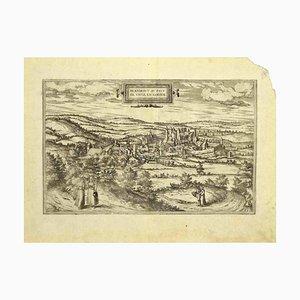 Scultura Franz Hogenberg - Vista di Blanmont - Acquaforte - tardo XVI secolo