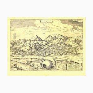 Acquaforte George Braun - Vista di Antequera - Fine XVI secolo