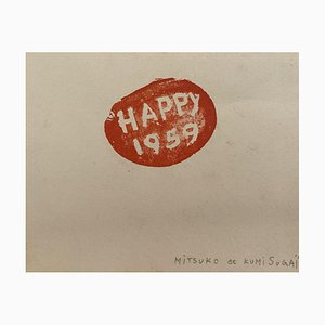 Litografia originale - 1959 di Kumi Sugai - Happy 1959