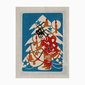 Desconocido - Árbol de Navidad japonés - Grabado en madera original - Mediados del siglo XX