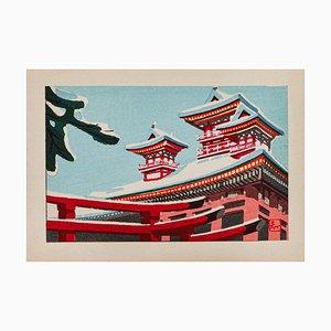 Inconnu - Maisons japonaises enneigées - Aquarelle originale - Milieu du XXe siècle