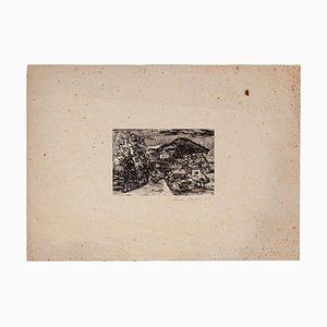 Mino Maccari - Häuser - Originaldruck von Holzschnitt - 1929