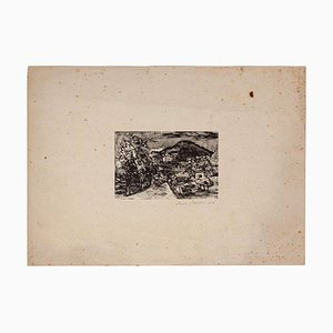 Mino Maccari - Houses - Original Woodcut Print - 1929
