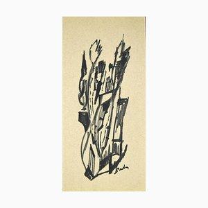 Inconnu - Composition abstraite - Fusain original sur papier - 1960