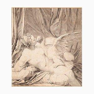 Inconnu - Léda et le cygne - Gravure originale - XVIIIe siècle