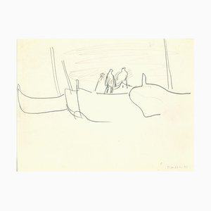Herta Hausmann - Barco en Venecia - Dibujo a lápiz original - Mediados del siglo XX