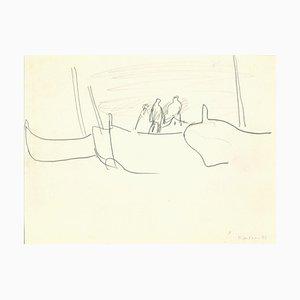 Herta Hausmann - Bateau à Venise - Dessin original au crayon - Milieu du XXe siècle