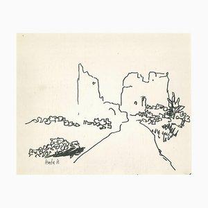 Herta Hausmann - Ischia - Dessin original à l'encre - Milieu du XXe siècle