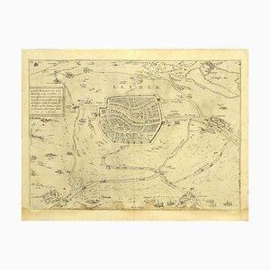 Franz Hogenberg - Vista de Leiden - Grabado original - Finales de 1500