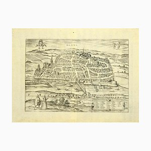 Acquaforte Franz Hogenberg - View of Blois - Fine XVI secolo