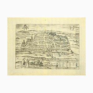 Franz Hogenberg - Vue de Blois - Gravure originale - Fin du XVIe siècle