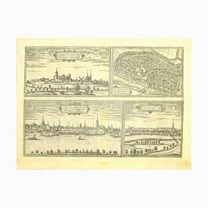 Franz Hogenberg - Views of 4 Cities - Etching - Late 16th Century