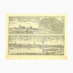 Franz Hogenberg - Vues de 4 villes - Eau-forte - Fin du XVIe siècle