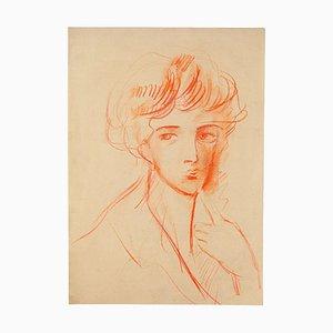 Gustave Bourgogne - Portrait féminin - Pastel original - Milieu du XXe siècle