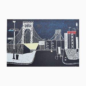 Franco Gentilini - el puente - Offset original - Años 70