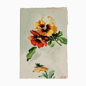 Inconnu - Fleurs - Aquarelle originale - Milieu du XXe siècle
