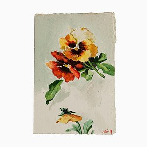 Unknown - Flowers - Original Watercolor - Mid-20th Century