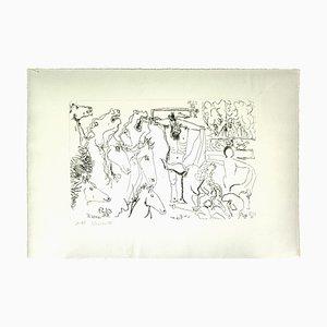 Gian Paolo Berto - la Crucifixion - Crayon original sur papier - 1975