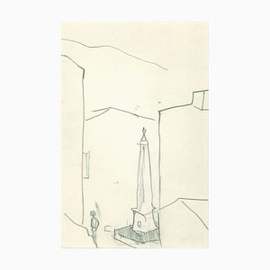 Herta Hausmann - Obelisco - Dibujo a lápiz original - Mediados del siglo XX