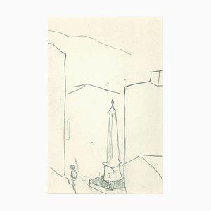 Herta Hausmann - Obélisque - Dessin original au crayon - Milieu du XXe siècle