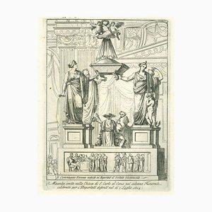 Inconnu - Mausolée érigé dans l'église Saint-Charles - Gravure originale - 19e siècle