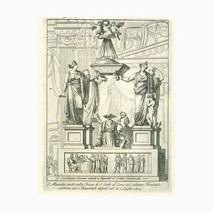 Unknown - Mausoleum Erected in the Church of St. Charles - Original Etching - 19th Century