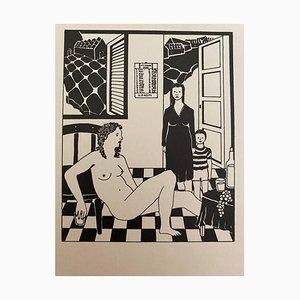 Antonio Presti - Internal - Original China Ink - Late 20th Century