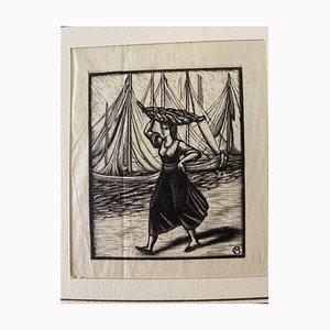 Inconnu - la Pêcheuse - Gravure sur bois originale - Milieu du XXe siècle