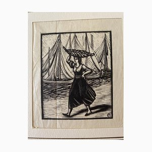 Unknown - the Fisherwoman - Original Woodcut - Mid-20th Century