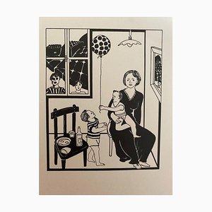Antonio Presti - Scène de famille - Encre de Chine originale d'Antonio Presti - Fin du XXe siècle