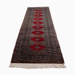 Geometric Bukhara Runner Rug in Dark Red with Border
