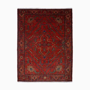 Floral Azeri Light Red Screened Rug with Central Medallion and Border