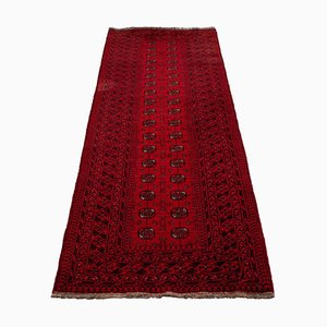 Geometric Old Afghan Runner Rug Bright Red with Border