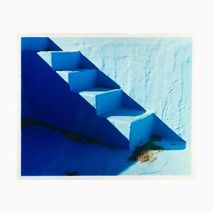 Steps, Zzyzx Resort Pool, Soda Dry Lake, California - Minimal Blue Photography 2002