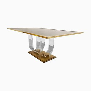 Vintage Lucite and Brass Dining Table, 1970s