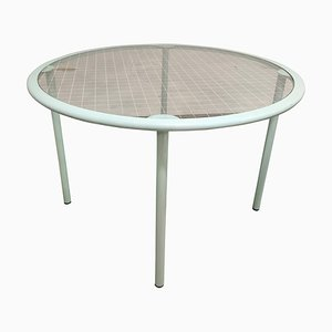 Vintage Round Glass Dining Table by Fly Line, Italy, 1960s