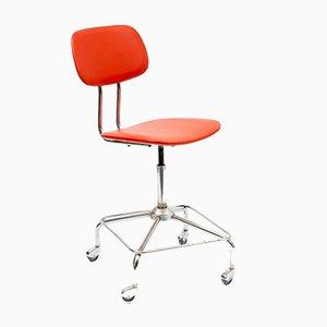 Silla de escritorio ajustable roja, años 50