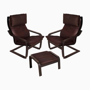 Leather Poäng Chairs & Footrest by Noboru Nakamura for IKEA, 1990s, Set of 3