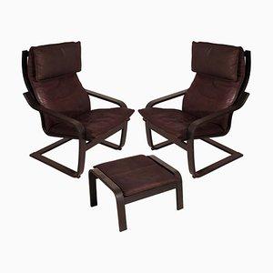 Poäng Stühle & Hocker von Noboru Nakamura für IKEA, 1990er, 3er Set