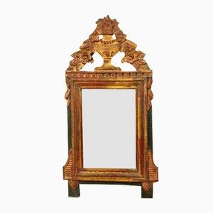 Specchio Luigi XVI in legno dorato e laccato